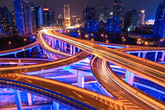 Colorful overpass at night. Colorful city interchange overpass at night in shanghai,China Royalty Free Stock Photography
