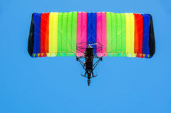 Colorful owered Paraglider from underneath view Stock Photography