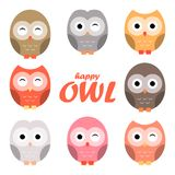 Colorful owl cartoon set, vector illustration. Colorful owl cartoon set, owl characters set, vector illustration Stock Image
