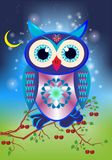 Colorful owl. Composition with a tree branch on which a colorful owl sits stock illustration