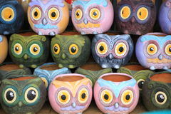 Colorful owl design Vase small Pot. Stock Image