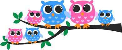 Colorful owl family vector illustration
