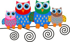 Colorful owl family. Illustration of a sweet colorful owl family Stock Photos