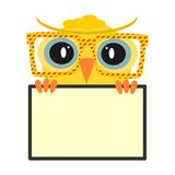 Colorful owl. Icon or banner with hipster owl isolated on a white background. Vector Royalty Free Stock Images