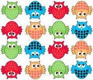 colorful owl pattern seamless Stock Images