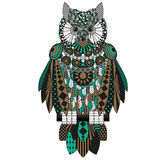Colorful owl. Raster drawing on a white background. Stock Images