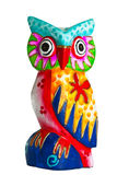 Colorful owl of wood decoration Stock Photo