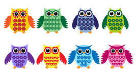 Colorful owls Royalty Free Stock Photo