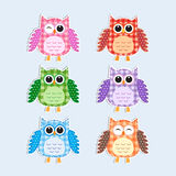 Colorful owls. Vector textile stickers Stock Photography