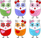 Colorful owls. A seamless background Royalty Free Stock Photography