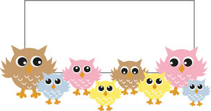 Colorful owls with a big placard. 