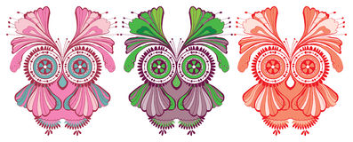 Colorful owls three vector illustration Royalty Free Stock Photography