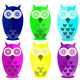 Colorful owls. Vector illustration of colorful owls on a white background Stock Photography