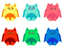 Colorful owls. Vector set of six colorful owls Royalty Free Stock Photography