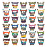 Colorful owls Vector set on white background Stock Images
