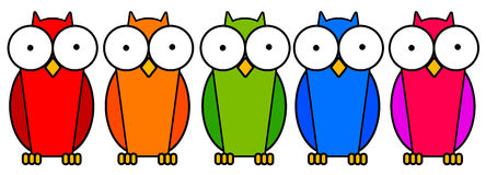 Colorful owls. Wise owls in bright colors Royalty Free Stock Images