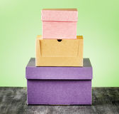 Colorful package box on a table Stock Image
