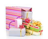Colorful package with gift boxes Royalty Free Stock Images