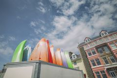 Colorful Paddleboards in Aberdyfi Town royalty free stock image