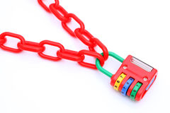 Colorful padlock and chain Stock Images