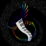 Colorful paino with composed music elements Royalty Free Stock Photos