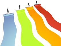 Colorful paint. Four rows of colorful paint on rollers Royalty Free Stock Image