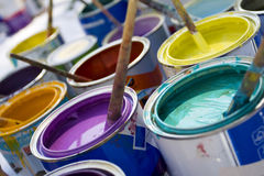 Colorful Paint And Brushes Stock Image