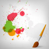 Colorful paint background with paintbrush Stock Photography