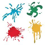 Colorful paint blots or splashes . Drops and stains. Paint splash or splat, splattered ink, dirty blots artistic elements. Colored paint splashes . Paint splash Royalty Free Stock Image