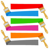 Colorful Paint Brush Banners Set Stock Image