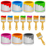 Colorful Paint Brush with Can Collection Royalty Free Stock Photos