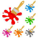Colorful Paint Brush with Splash Set Stock Images