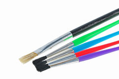Colorful paint brush on the table. S Royalty Free Stock Photos