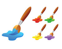 Colorful Paint Brush. Vector illustration of colorful paint brushes Royalty Free Stock Images