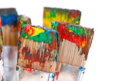 Colorful paint on brushes Royalty Free Stock Photo