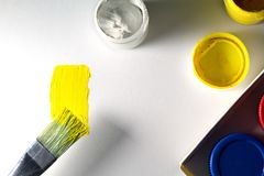 Colorful Paint Brushes with the yellow Colors. Colorful Paint Brushes with the yellow Colors Stock Images