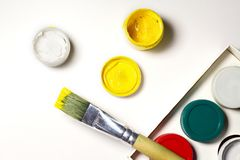 Colorful Paint Brushes with the yellow Colors. Colorful Paint Brushes with the yellow Colors Stock Photography