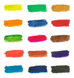 Colorful paint brushstrokes. Brushstrokes of different colors on a white background Stock Photos