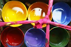 Colorful paint bucket royalty free stock photos