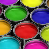 Colorful paint buckets Royalty Free Stock Photo