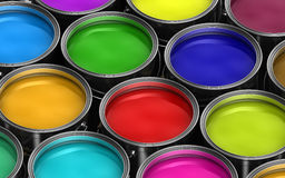 Colorful paint buckets Royalty Free Stock Photography