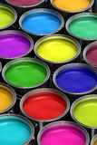 Colorful paint buckets Royalty Free Stock Images