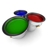 Colorful paint buckets Stock Photography