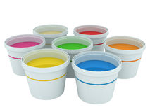 Colorful paint buckets Stock Photos