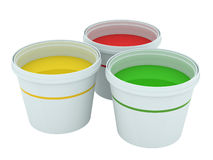 Colorful paint buckets Stock Image