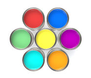 Colorful Paint Buckets, Isolated. Paint Buckets in a Circle Formation Stock Images
