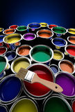 Colorful paint cans. Lots of colors paint cans wide angle Royalty Free Stock Photo