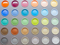 Colorful Paint Cans. In the shop royalty free stock photos