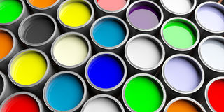 Colorful paint cans background, 3d illustration. Colorful paint pots background, 3d illustration Stock Photo