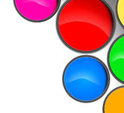 Colorful paint cans. Beautiful colorful paint canned on a white background Stock Images